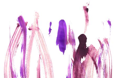 Pink and purple abstract paint strokes on white background 写真素材