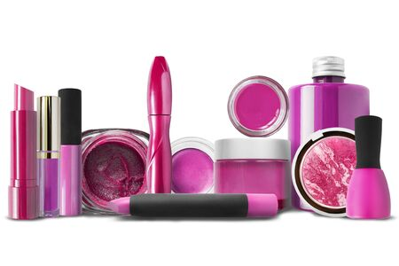 Magenta pink cosmetics collection on white background 写真素材