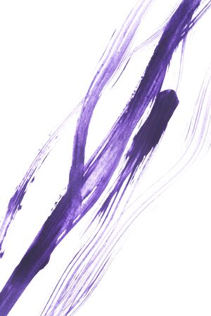 Purple ink abstract brush strokes on white background