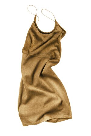 Knitted golden crumpled mini dress on white background