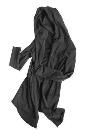 Black crumpled gothic mantle coat isolated over white Imagens