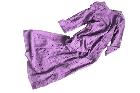 Purple cotton embroidered long dress crumpled on white background