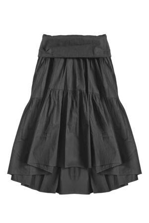 Black flared cotton knee length skirt on white background Stockfoto