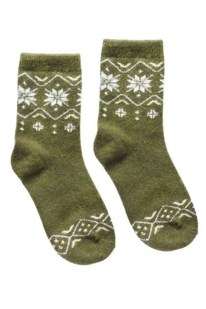Pair of green wool socks isolated over white Banco de Imagens - 137864001