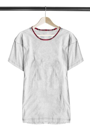 Basic grey cotton t-shirt hanging on wooden clothes rack isolated over white