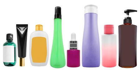 Collection of blank cosmetics bottles on white background Stock Photo