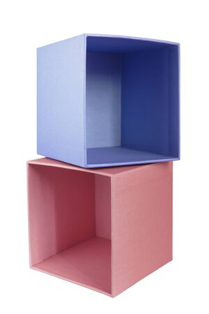 Blue and pink empty carton cube boxes isolated over white