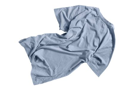 Crumpled blue oversized t-shirt isolated over white