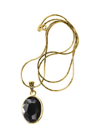 Gold necklace with black onyx pendant isolated over white