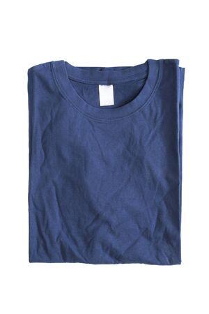 Dark blue basic folded t-shirt on white background