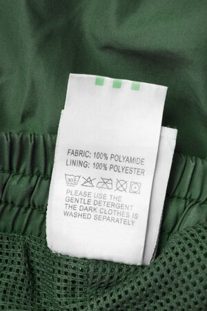 Fabric composition and care clothes label on green textile background