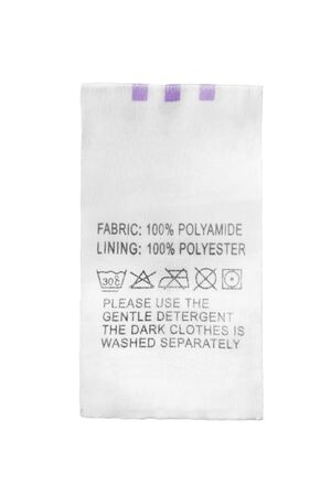 Fabric composition and care clothes label isolated over white