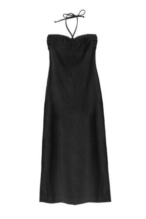 Long black strapless halter dress on white background Stock Photo