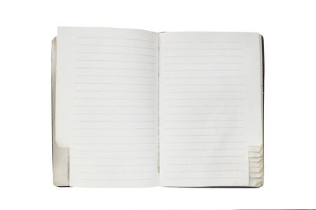 Old blank lined opened notebook on white background