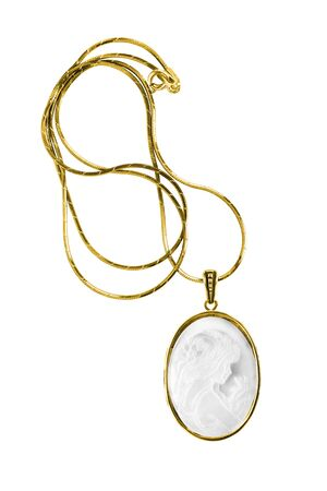 Gold necklace with a vintage cameo locket isolated over white