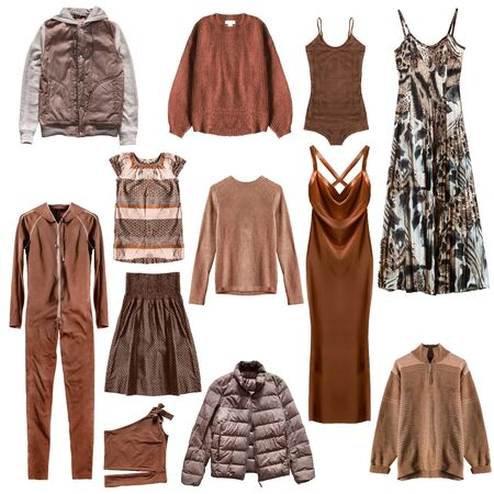 Brown woman's clothing collection on white background