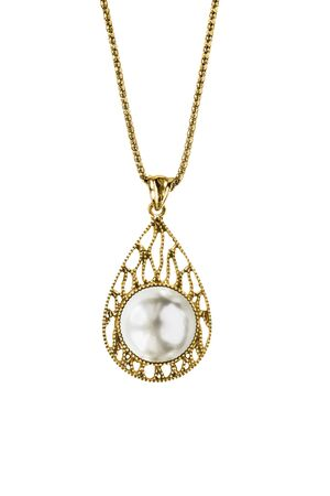 Vintage pearl drop shaped gold pendant hanging on a chain on white background Imagens