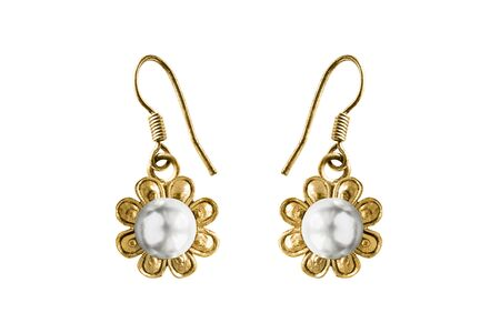 Vintage gold flower shaped earrings with white pearl isolated over white