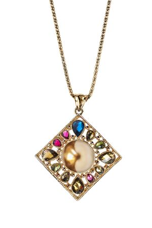 Precious gold pendant with colorful crystals and golden pearl hanging on white background