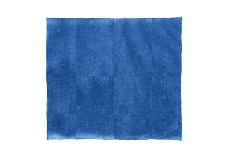 Blue synthetic textile square patch isolated over white