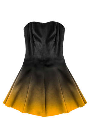 Black silk mini strapless dress with yellow flared skirt isolated over white