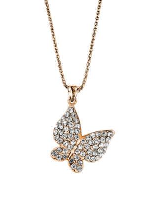 Gold diamond butterfly pendant hanging on a chain on white background Stock fotó