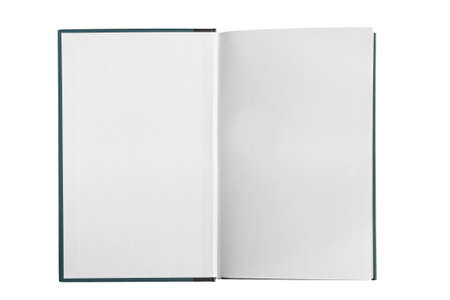 Opened blank white book pages isolated over white Standard-Bild