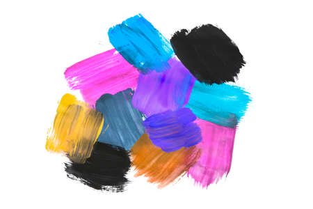 Colorful abstract paint swatches isolated over white 版權商用圖片