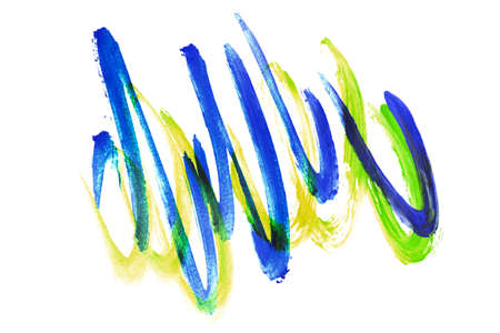 Blue and yellow paint abstract strokes isolated over white