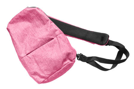 Pink crossbody sport backpack isolated over white Stok Fotoğraf