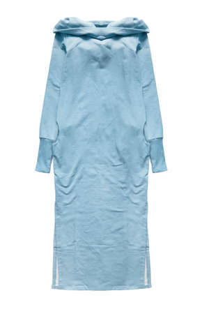 Blue long casual dress isolated over white
