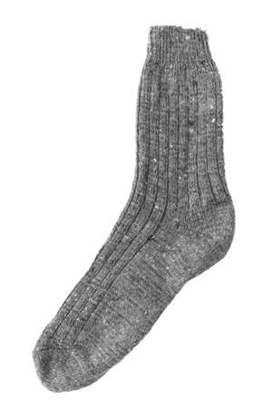 One gray knit sock isolated on white background