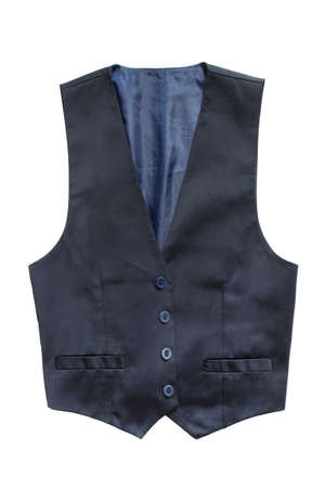 Blue silk elegant waistcoat isolated over white