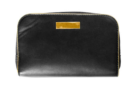 Black leather pouch bag isolated over white Stock Photo