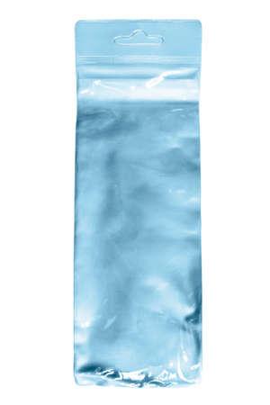 Blue plastic packet isolated on white background Stock Photo