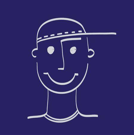 funny hair: Hand drawn face of man illustration icon set white on dark blue