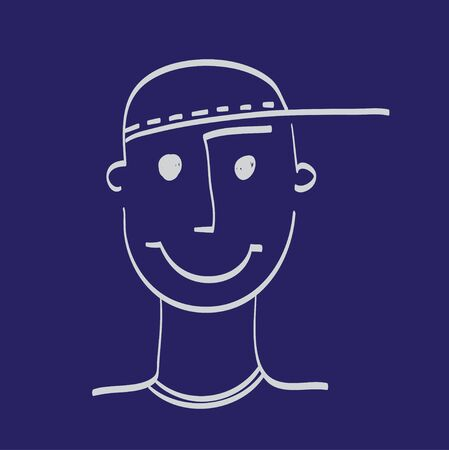 caras graciosas: Mano dibujado la cara del hombre ilustración icono conjunto blanco en azul marino Vectores