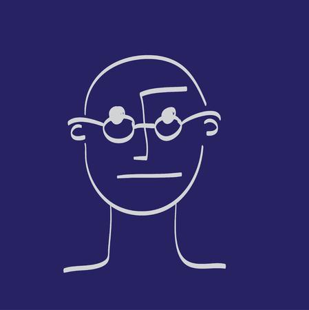 Hand drawn face of man illustration icon set white on dark blue Vektorové ilustrace