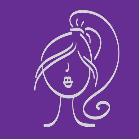 cola mujer: dibujado a mano de la mujer con un cabello hermoso y la cola icono ilustración