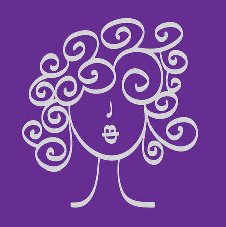 nice hair: Hand drawn woman with beautiful curly hair and nice full lips icon illustration, perfect for hairdressers, salons, stylists, fashion magazines Illustration