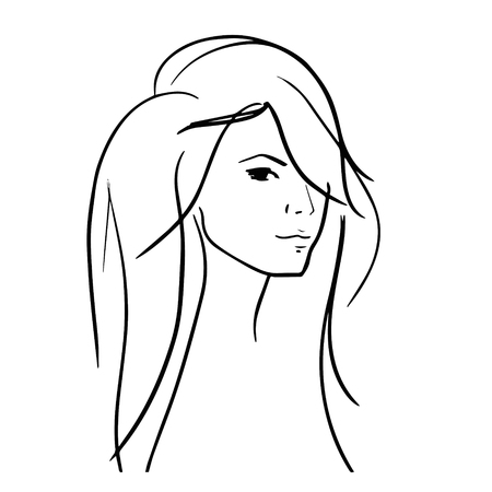 nice hair: Hand drawn woman with beautiful hair and nice full lips icon illustration, perfect for hairdressers, salons, stylists, fashion magazines