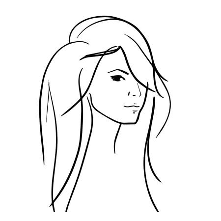 dibujado a mano de la mujer con un cabello hermoso y agradable labios gruesos icónico, perfecto para peluqueros, los salones, estilistas, revistas de moda