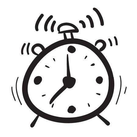 Hand drawn clock icons set illustration, watches, time, morning alarm black Vector Illustration