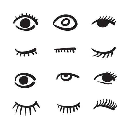 ojo humano: dibujados a mano los ojos conjunto ilustración en blanco y negro
