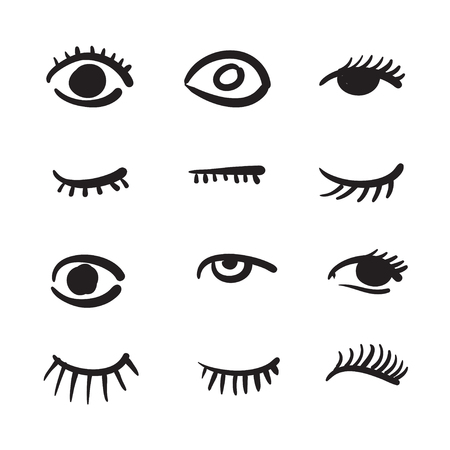 human eye close up: Hand drawn eyes set illustration black and white