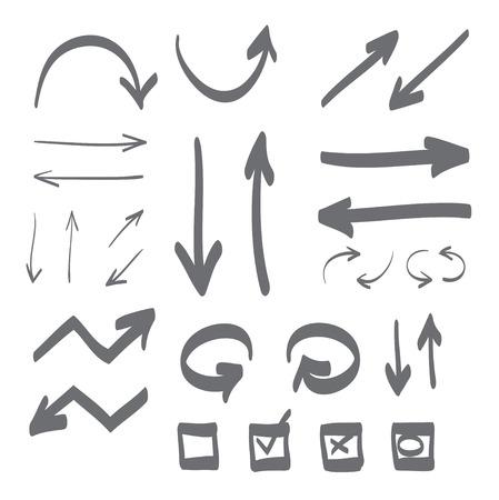 frecce disegnate a mano stabilite icona illustrazione, perfetto per il web, ufficio, destra, sinistra, su e giù, freccia cerchio