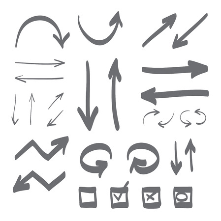 Hand drawn arrows set icon illustration, perfect for web, office, right, left, up and down, circle arrow