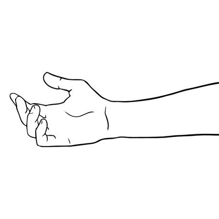 Main mains tirées symbole illustration icône lignes en noir et blanc