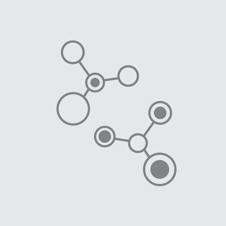 Thin line molecule universal icon grey