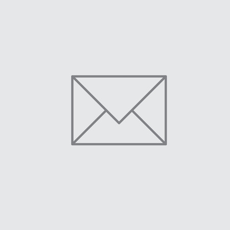 grey line: Thin line mail envelope universal icon grey